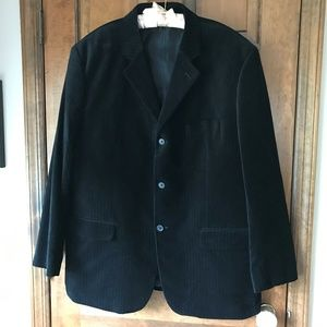 Material London Black Velvet Corduroy Blazer XXL